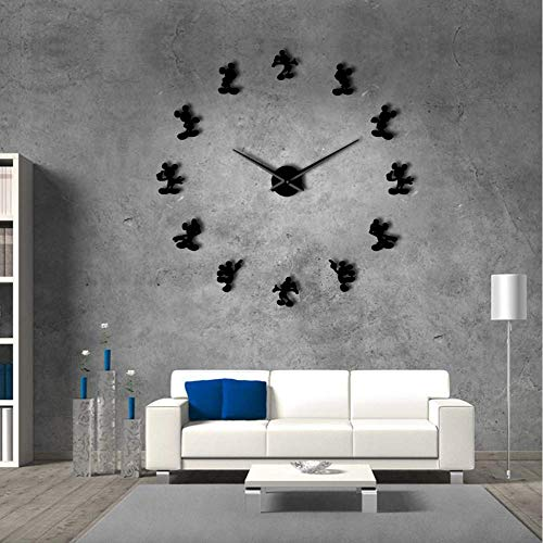 Knncch 27Inch Noir Mickey Design DIY Géant Horloge Murale De Bande Dessinée Kid Room Decor Murale DIY Suspendus Montre De Miroir Effet sans Cadre Comics Horloge Murale