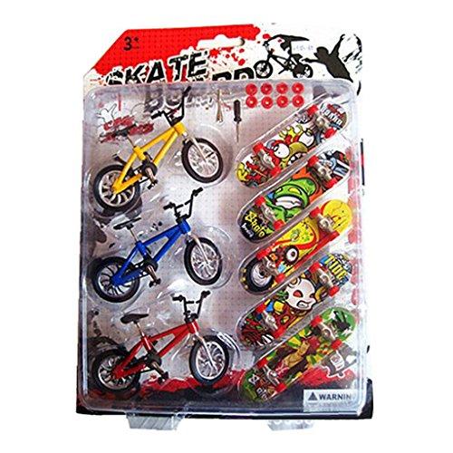 Fogun 5Pcs Mini Skateboard und 3Pcs Bicycles Spielzeug Fingerboard Tech Deck Jungen Kinder Weihnachten Geschenke