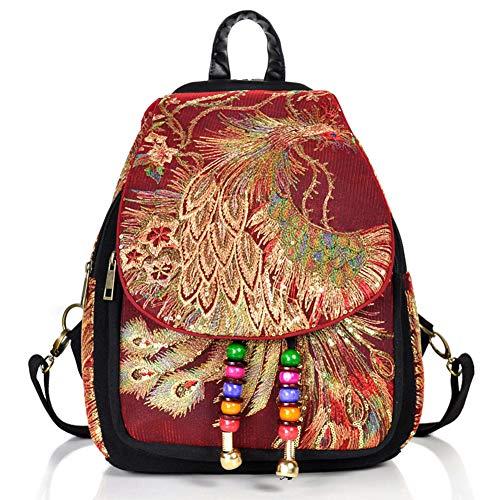 Fashion Mode Damen Rucksack Canvas Damentasche Schultertasche süße Rucksäcke Frauen Rucksack Schwarz (Rot) - Karte-laptop-hülse