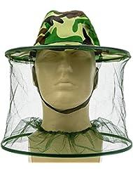 homiki 1PC Apiculteur Camouflage Mosquito Bug en maille filet anti-insectes Les abeilles Tête visage Protège chasse Camping Pêche Bonnet Masque Seau Chapeau anti-mouches