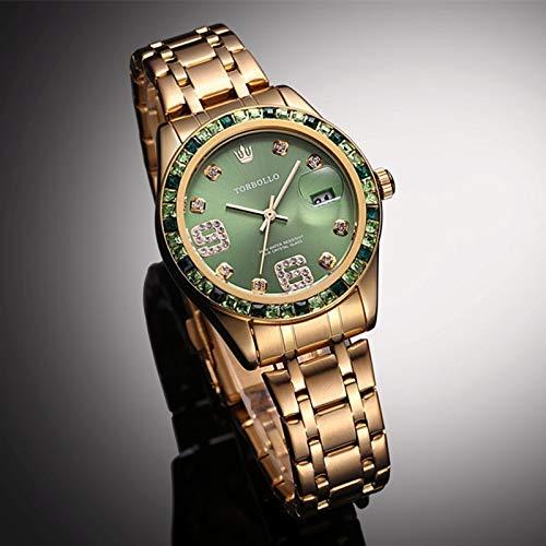 ZCCZJBXS Damenuhr Gold Top Marke Damenuhren Armband Damen Saat erkekler Wasserdicht Mit Original Box Gold GRÜN