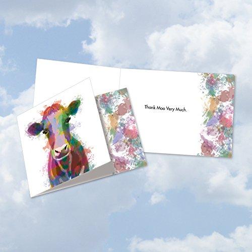 cq4948etyg New square-top Thank You Grußkarte: Funky Rainbow wildlife-cow mit hipster-like Bild Kuh mit Bunt Farbe Splotches, mit Umschlag (Größe: 4¾