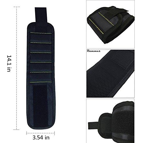 JTENG Magnetische Armbänder, Magnetarmband mit 10 leistungsstarken Magneten Magnet Armbänder verstellbares Klettband zum Halten von Werkzeugen, Schrauben, Nägel, Bohren Bits und Kleinwerkzeuge - 6