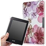 MoKo Kindle Paperwhite Hülle - Ultra Slim Schutzhülle Tasche Schale Smart Case für Alle Kindle Paperwhite (2015/2014/2013/2012 Generation mit 6 Zoll Display und Einbauleuchte), Blumen-Violett