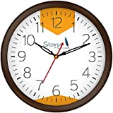 [Sponsored]Story@home 10-inchRound Shape Wall Clock With Glass For Home / Kitchen / Living Room / Bedroom (Brown Frame)