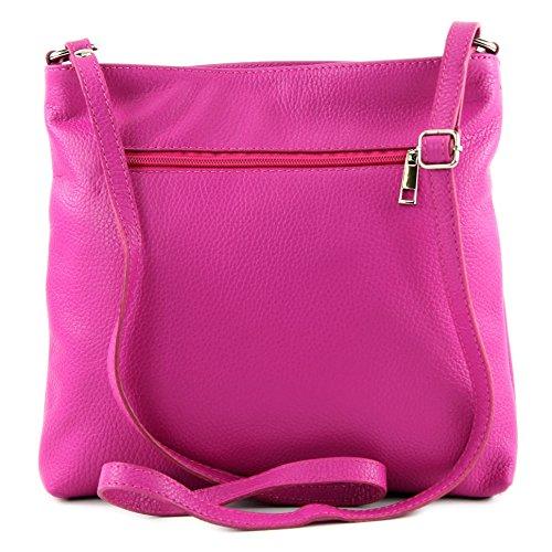modamoda de -. Sac en cuir ital sac à bandoulière croisé dames sac de messager en cuir T144 Pink/Weiß