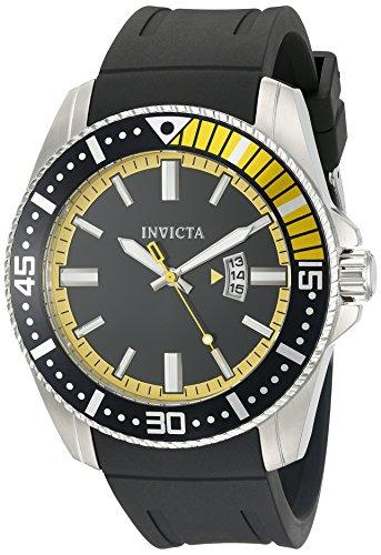 Invicta Men's Pro Diver 48mm Black Polyurethane Band Steel Case Flame-Fusion Crystal Quartz Watch 21444