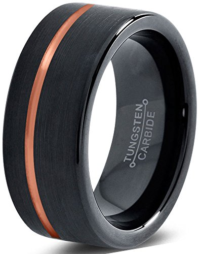 Tungsten Wedding Band Ring 8mm for Men Women Black & 18K Rose Gold Offset Line Pipe Cut Brushed Polished Lifetime GuaranteeSize 22,5