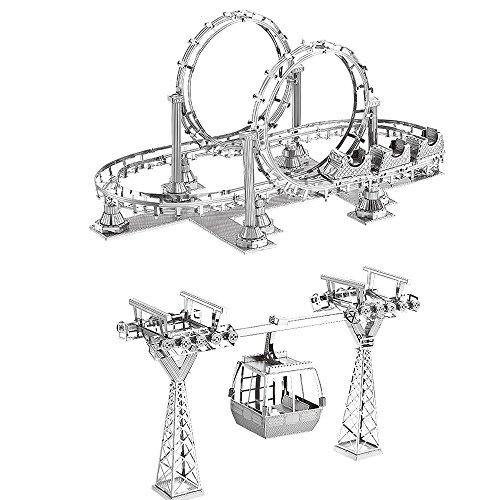 Modèle de métal 3D Montagnes russes + Téléphérique DIY Puzzle 3D en métal modèles découpés au laser Assembler Jouets - F31104, F31105