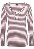 Stitch & Soul Damen Longsleeve Gestreift mit Kordel | Maritimes Langarm-Shirt Light-Rose M