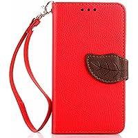 Google Nexus 5 Wallet Funda,Carcasa PU Leather Cuero Suave Impresión Cover Con Flip Case TPU Gel Silicona,Hoja Cierre Magnético,Función de Soporte,Billetera con Tapa Libro Tarjetas para Estilo Del Libro Estuche Del Protector(Rojo Color)