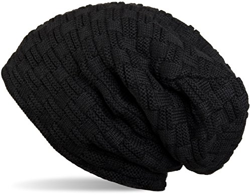 styleBREAKER warme Feinstrick Beanie Mütze mit Flecht Muster und sehr weichem Fleece Innenfutter, Unisex 04024058, Farbe:Schwarz (Beanie Long)