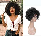 Queentas 8' Noir Short Afro Kinky Perruques de cheveux humains bouclés avec un filet gratuit pour les femmes (boucles naturelles)