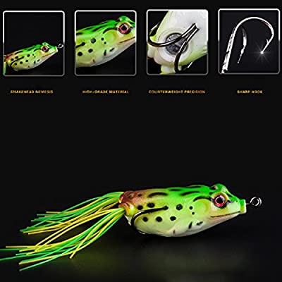 Crewell Frog Lure Soft Lures Artificial Fishing Bait Topwater Wobbler Bait for Pike Snakehead Article Gear by Crewell