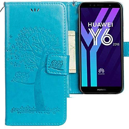 CLM-Tech Huawei Y6 2018 Hülle, PU Leder-Tasche Schutzhülle mit Stand, Kartenfächern, Baum Eule blau, Lederhülle für Huawei Y6 2018