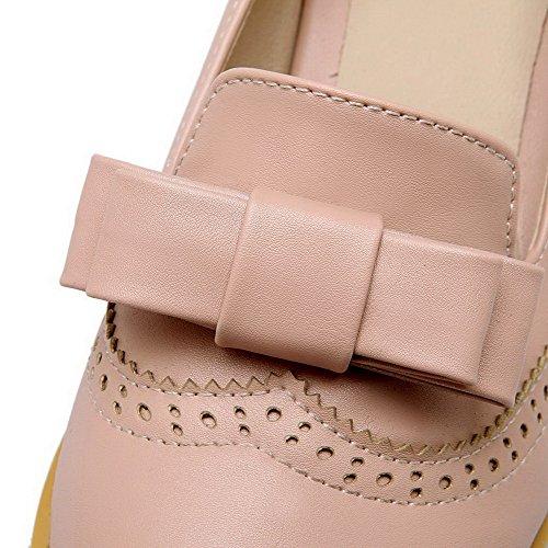 VogueZone009 Femme Matière Souple Rond à Talon Correct Couleur Unie Chaussures Légeres Rose