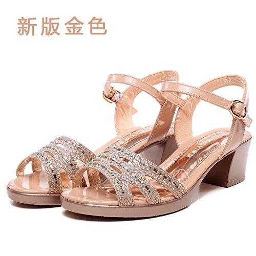 Estate moda donna sandali comodi tacchi alti,35 rosso Gold