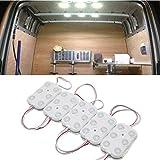 FEZZ Auto Innenraum 10x6 LED Streif Beleuchtung Set Deckenmodul Werbung Lampe Dekoration Atmosphäre Weiß für Van LKW Kraftwagen Boot Wohnwagen Anhänger SUV HGV