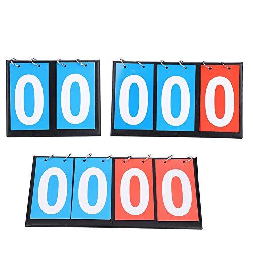 Jadeshay Anzeigetafel, 2/3/4-stellige tragbare Flip Sport Anzeigetafel Ergebniszähler für Tischtennis Basketball,Volleyball,Tischtennis,Fussball