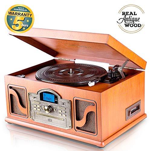 Lauson CL146 Giradischi Classico Bluetooth MP3 USB e Funzione Codifica Vinile in legno e lettore CD Radio cassette 33/45/78 RPM Altoparlanti Incorporati