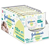 Johnson's Baby Cotton Touch Wipes - Pack of 18, Total 1008 Wipes