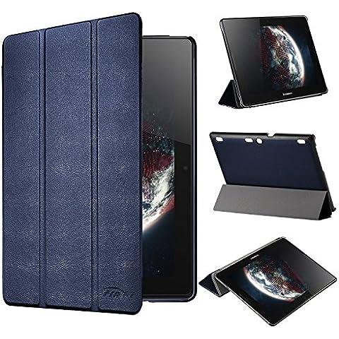 tinxi® PU piel funda para Lenovo Tab 2 A10-70 / Tab 2 A10-70F / TAB 2 A10-30F (X30F) / TAB 3 10 Business (TB3-X70F) 10,1 pulgadas (25.65cm) protectora Cover Tablet Notebook Case con funcion de soporte con el azul oscuro