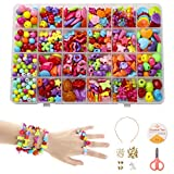 Phogary Children DIY Beads Set(500pcs), Colourful Beads for Jewellery Making for Kids DIY Bracelets Necklaces Beads Making Kit As Beads Gift Kit for Girls