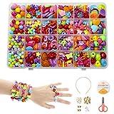 Phogary Ensemble De Perles De Bricolage pour Enfants (500pcs), Perles Colorées pour La Fabrication De Bijoux pour Enfants Bracelets De Bricolage