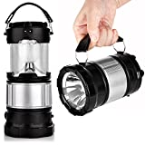 #7: Edios Premium Plastic made Portable Outdoor LED Camping Lantern Solar Lamp Lights Handheld Flashlights with Rechargeable Battery for Backpacking, Hiking, Fishing, Emergencies Outages-Silver