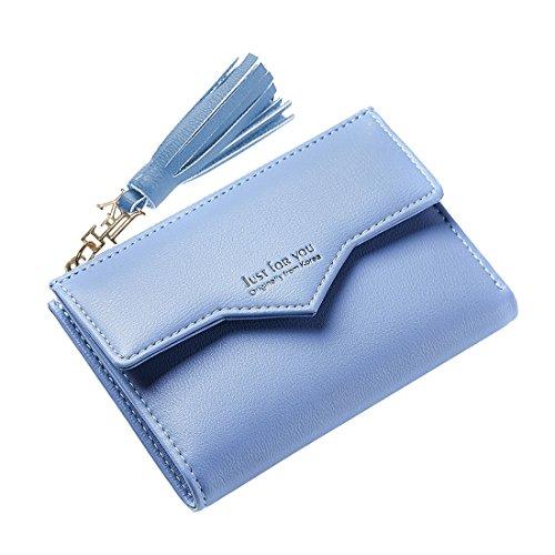 Women's Mini Purse Credit Card Case Pouch Slim Wallet Short Pouch Coin Zipper Pocket Small Clutch with ID Window Tassel Blue