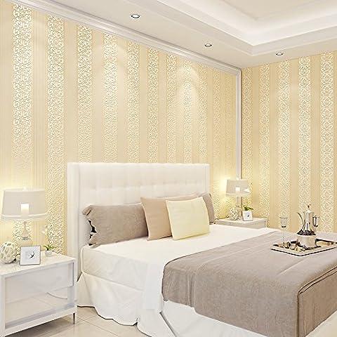FUMIMID Semplice e accogliente stile europeo striscia flanella giallo carta da parati in tessuto non tessuto 3D camera corridoio progetto-sfondi , B