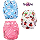 Fig-O-Honey Reusable New Born Baby Cloth Diapers | Multi-Color Baby Fabric Nappy With Free Absorbent Inserts | Washable And Elastic Printed Modern Cloth Nappies With Insert Liners | ( Elephant, Ladybug & Pink Polka Dots Print Combo )