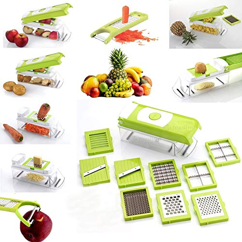 AD Passion Plastic Vegetable Slicer, Grater and Dicer - 11-Piece with 1 Knife, Chipser, Cutter, Salad Container (Multicolour)
