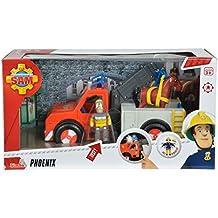 Sam El Bombero - camión rescate 23 cm con figura y caballo (Simba Dickie 9258280)