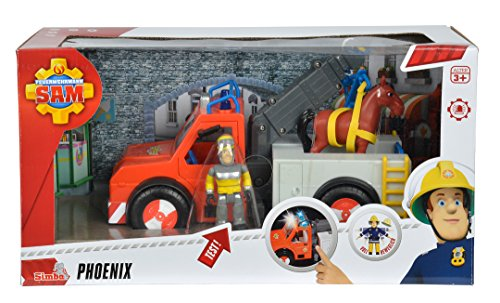 Preisvergleich Produktbild Simba 109258280 - Feuerwehrmann Sam Phoenix Rettungsfahrzeug mit Figur und Pferd