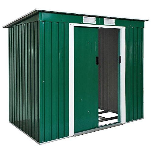 TecTake Cobertizo caseta de jardín metálica de metal invernadero almacén | + fundación | disponible en diferentes colores y modelos (Tipo 2 | verde | no. 402183)