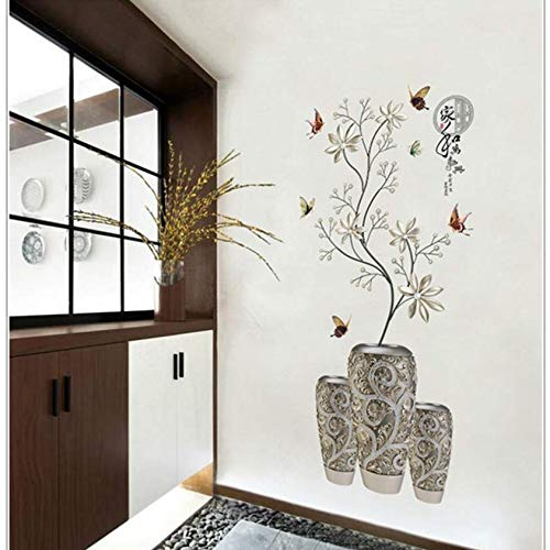 Luzhenyi Modern Chinese Style Wall Sticker Silver White Flower Vase Butterfly Decor Applique Bedroom Dining Room Entrance Decoration Diy 55X118Cm (Silver Flower Vase)