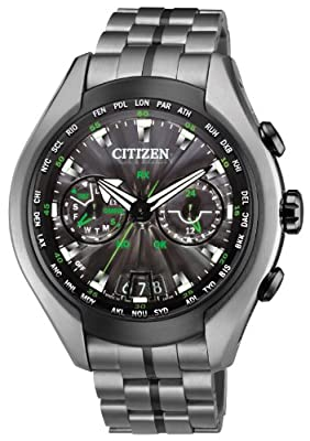 Citizen Watch Satellite Wave Air Men's Quartz Watch with Black Dial Analogue Display and Grey Titanium Bracelet