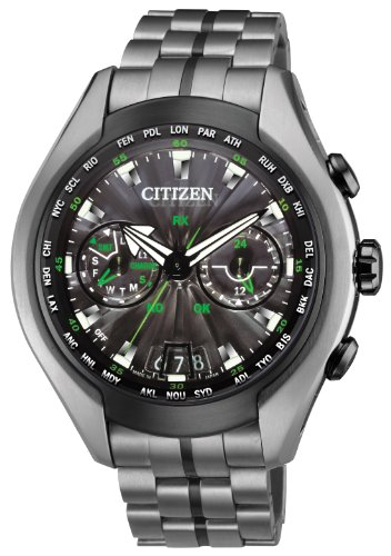 Citizen-Watch-Satellite-Wave-Air-Mens-Quartz-Watch-with-Black-Dial-Analogue-Display-and-Grey-Titanium-Bracelet