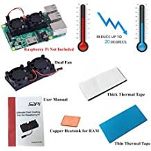 GeeekPi Ventilateur Refroidisseur Dissipateur de Chaleur avec 2 Pack de Bande Thermique Kit de Refroidissement pour Raspberry Pi 3/2 Modèle B, Convient aux Cas Nespresso Nespi NESP et Cas NESPI PLUS (V1.0 Pas pour Pi 3B +)