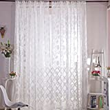 Rrimin Romantic Floral Tulle Voile Curtain Decoration Drape Panel Sheer Window Screening Curtains (White)
