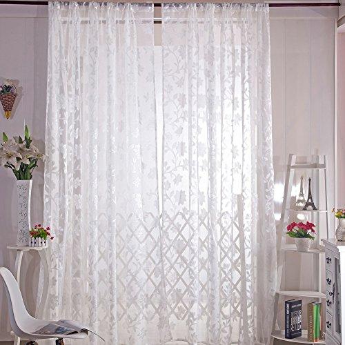 Amazingdeal365 Spitzen Lotus Vorhang Flugfensterdeko Voile Gardinen Schal 2m *1 m Set für Tür Schlafzimmer Wohnzimmer Kinderzimmer Balkon Terasse Spielzimmer (Weiß) (Vorhang Spitze Tür)