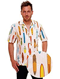 KY's | Original Hawaiian Shirt | For Men | S - 6XL | Short-Sleeve | Front-Pocket | Hawaiian-Print | Surfboards | blanc