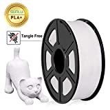 SUNLU 3D Printer Filament PLA+,PLA+ Filament 1.75 mm,Low Odor Dimensional Accuracy +/- 0.02 mm 3D Printing Filament,2.2 LBS (1KG) Spool 3D Printer Filament for 3D Printers & 3D Pens,Pure White