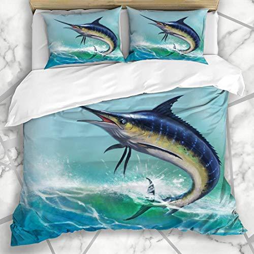 LONLYTISA Bettwäsche - Bettwäscheset Swinging Fish Blue Marlin Ocean Weiß Sailfish Swordfish Sea Striped Water Weiches Dreiteiliges Mikrofaser-Set Mit Verschiedenen Benutzerdefinierten Mustern135*200