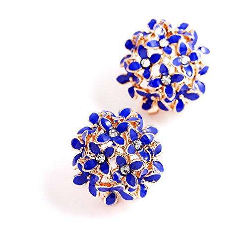 YouBella Dark Blue Crystal Stud Earrings for Women