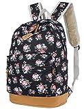 Leaper Retro-Look canvas Rucksack mit Blumen kinderrucksack mädchen schulrucksack für Schule Uni Freizeit (Large,Blumen Schwarz)