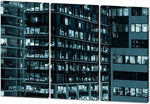 Bürokomplex, schönes und hochwertiges Leinwandbild zum Aufhängen in XXL - 3 Teiler mit 120cm x 80cm, echter Holzrahmen, effektiver Pigmentdruck, modernes Design für Ihr Büro oder Zimmer
