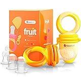 NatureBond Baby Food Feeder / Fruit Feeder Pacifier (2 PC) - Nimbo giocattolo dentizione di dentizione e sacchetti di cibo in silicone in colori di stimolazione dell'appetito | Include 6 PC tutte le dimensioni Silicone Sacs