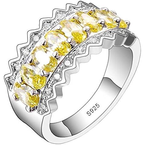 So Chic Gioielli - Anello Stella - Fila centralee di Pietre Ovali Bordi Ondulati - Zirconia Cubica Giallo Bianco & Argento Sterling 925